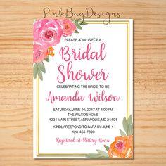 Floral Bridal Shower Invitation Watercolor Floral Shower
