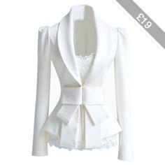 Choies Slim fit White Blazer with Bow Waist