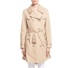 Moncler 'Bavarelle' Water Resistant Trench Coat (£715) ❤ liked on Polyvore featuring outerwear, coats, khaki, beige coat, a line coat, a line trench coat, pleated coat and belted trench coat