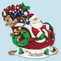 Santa in Sleigh with Rudolph HANDMADE por PersonalizedOrnament