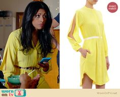 Divya's yellow split sleeve dress on Royal Pains. Outfit Details: http://wornontv.net/34415/ #RoyalPains