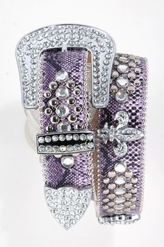 MotoChic Purple Leather Snakeskin-Pattern Belt Adorned with Crystal Fleur De Lis and Lots of Crystals