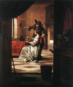 Pieter de Hooch - Couple with a Parrot. 73 x 62 cm, Oil on canvas, Wallraf-Richartz Museum, Cologne Johannes Vermeer, Rotterdam, Caravaggio, Rembrandt, Delft, Pieter De Hooch, Baroque Painting, Art Ancien, Dutch Golden Age