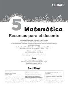 Animate Matemática 5  Orientaciones didácticas para el uso del libro