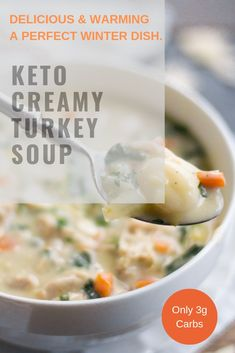 You wont go too far wrong with keto creamy turkey soup. A turkey soup is just one of those staple dishes that people love adore and keep going back to time and time again during the festive holidays of Thanksgiving and Christmas time. Cream Of Turkey Soup, Easy Turkey Soup, Slow Cooker Turkey Soup, Homemade Turkey Soup, Ground Turkey Soup, Leftover Turkey Soup, Turkey Stew, Cream Soup, Winter Dishes