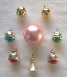 Selection of eight vintage glass Christmas tree baubles / decorations including bell (c.1950s) - www.vanishederas.com