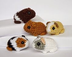 Little tiny Guinea pigs ... free pattern from http://greatamigurumi.blogspot.com/2014/07/free-cute-guinea-pigs-crochet-pattern.html