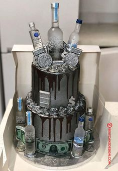 50 Most Beautiful looking Vodka Cake Design that you can make or get it made on the coming birthday. Birthday Cake For Boyfriend, Birthday Cake For Him, Funny Birthday Cakes, Unique Birthday Cakes, Cookie Cake Birthday, Beautiful Birthday Cakes, Birthday Cakes For Men, Boys 18th Birthday Cake, Birthday Ideas