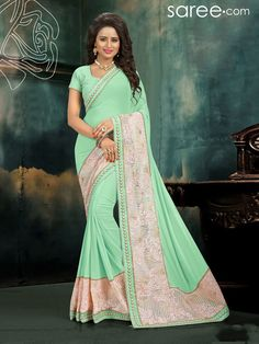 GREEN GEORGETTE SAREE WITH EMBROIDERY WORK