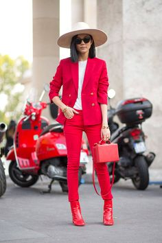 In a bit of a surprise, monochromatic red was a consistent stand out on the streets—much to street style photographers' relish. These are no wallflowers.   - HarpersBAZAAR.com