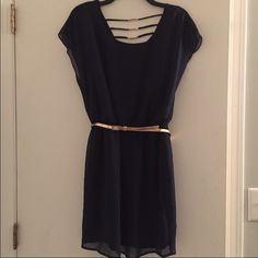 Host Pick 10/5 New Navy Blue & Gold Dress NEW navy blue dress with gold belt and design in back with gold accent. Never worn. City Triangles Dresses Midi