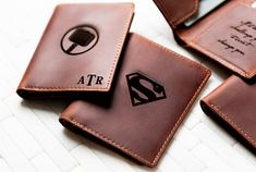 Super Hero Inspired Slim Personalized Leather Wallet - The Sarasota by Left Coast Original Monogram Fonts, Monogram Initials, Personalized Leather Wallet, Left Coast, Leather Conditioner, Slim Wallet, Distressed Leather, Ultra Premium, Superhero