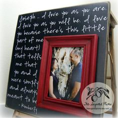 This is super cute. Also could be done with wedding pictures and vows written out. (we wrote our own vows).