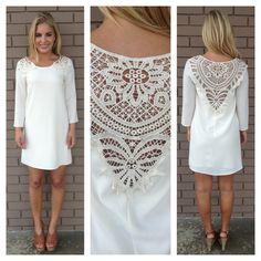 Ivory Libby Crochet Shift Dress
