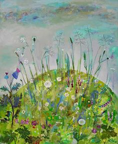 Kalina Atanassova, Bulgarian, b.1941.  Lives and works in Plovdiv, BG.  Wildflowers, Nature's garden.  I like her work. Try the blog (below) or a Pinterest search to see more (and more typical) of her work.