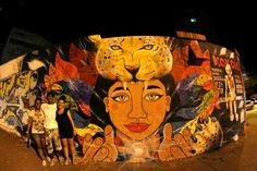 Estefanía Leigthon, Stfi! Muro en conexión con Teca y niño Fotografías cortesía de Mavizu!. Cali, Colombia. Diciembre 2014.