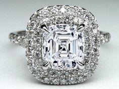Asscher Diamond Double Halo Pave Engagement Ring