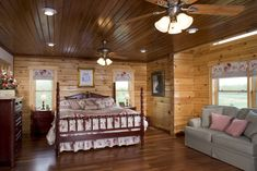 View photos of a modified Westport Plan D Log home designed & milled by Honest Abe Log Homes; family owned/operated since nationwide sales & delivery. Log Home Bedroom, Bedroom Loft, Master Bedroom, Bedroom Decor, Big Bedrooms, Bed Rooms, Log Home Designs, Dreams Beds, Cozy Cabin