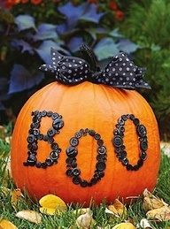 Glam pumpkins with boo, trick or treat etc