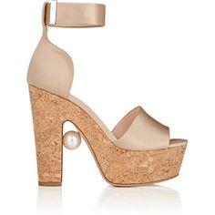 Nicholas Kirkwood Women's Maya Platform Sandals ($319) ❤ liked on Polyvore featuring shoes, sandals, nude, platform sandals, cork platform sandals, wide width platform sandals, high heel sandals and nude high heel shoes