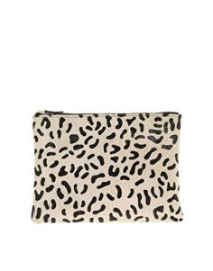 ASOS | ASOS Leather Clutch Bag With Faux Pony Animal Print at ASOS $58