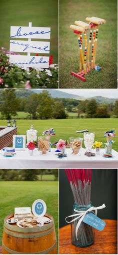 What a fun set up for people to do if they don't feel like hitting the dance floor or for activities during cocktail hour. Have a variety of lawn games set up such as croquet, bocce, and cornhole.