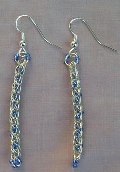 Silver Plated Viking Knit Earrings with Blue Beads