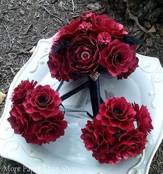 Paper Flower Bouquet Wedding Bouquet Red by morepaperthanshoes