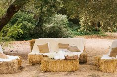 Straw bale couch. {Rancho Dos Pueblos Wedding}