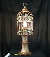 Original Unique, Steampunk Style, Mid-Century Modern Caged Lamp with Offset Bulb