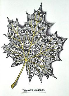 zentangle by Tatyanka-Gunchak on DeviantArt Doodle Art Drawing, Cool Art Drawings, Zentangle Drawings, Mandala Drawing, Art Drawings Sketches, Black Pen Sketches, Black Pen Drawing, Zentangles, Mandala Art Lesson