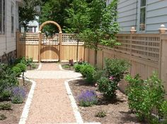 Privacy Fence with Gate traditional landscape Privacy Landscaping, Privacy Fences, Traditional Landscape, Traditional House, Front Yard Fence, Sidewalk, Outdoor Structures, Outdoor Decor, Houzz