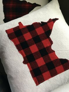 Minnesota Pillow in Red and Black Buffalo Plaid by reclaimedmpls