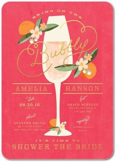 Champagne Brunch Bridal Shower Invitations | PartyIdeaPros.com