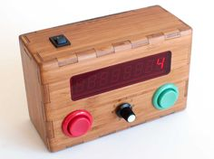 """Kid's """"Counting Box"""" - press the big buttons to increment/decrement the total Screen Printing Press, Adding And Subtracting, Diy Buttons, Freezer Paper, Metal Fabrication, Diy Electronics, Toys Shop, Cooking Timer, Have Time"""