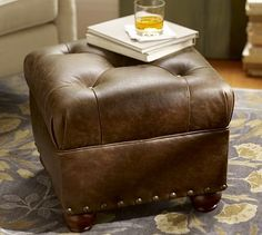 Oliver Leather Cube Ottoman - ideal size for the current living room arrangement.