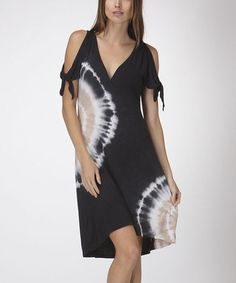 This Navy Blue Tie-Dye Shoulder-Cutout Surplice Dress - Women is perfect! #zulilyfinds