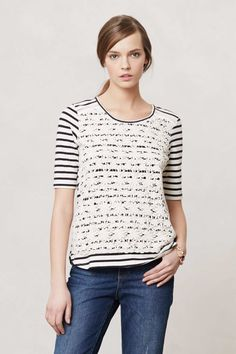 Anthropologie stripes and clover tee