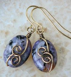 Charoite Gemstone Bronze Swirl Artisan Earrings, Grade A, Rare Stone