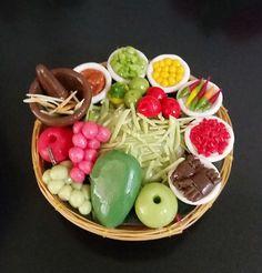 Miniature Dollhouse Thai Food Set  Papaya Salad SomTam Clay Bamboo Spring Basket