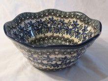 Polish Pottery Serving Bowl-Blue Floral Mint, $39.95