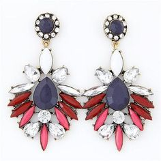 Blue Blossom Statement Earrings Red