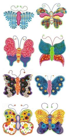 Fun Spring Butterflies Applique Design Set is available for Instant download from designsbyjuju.com