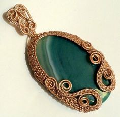 SALE w/Coupon Code: Wire Wrapped, Wire Sculpted Green Banded Agate Pendant, handmade artisan wire wrapped jewelry. Womens Jewelry by SparrowSongInDesign on Etsy https://www.etsy.com/listing/221130228/sale-wcoupon-code-wire-wrapped-wire