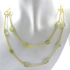 Antique Natural Prehnite Brass Gold Vermeil Long Chain Vintage Promise Necklace #Handmade #Chain