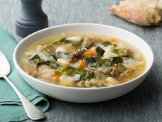 Sausage, Beans and Broccoli Rabe Soup recipe from Rachael Ray via Food Network