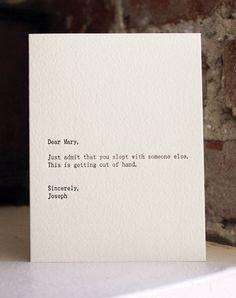 Dear Mary... letterpress card. $4.50, via Etsy.