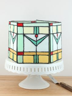 Mission Style Stained Glass Cake via Made With Pink