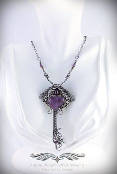 Amethyst 'Key to My Heart' Pendant Necklace in .999 Fine Silver w/ Antiqued Finish. Original design by Daryl Adams.