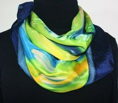 After the Rain Hand Painted Silk Scarf in Blue, Yellow and Green